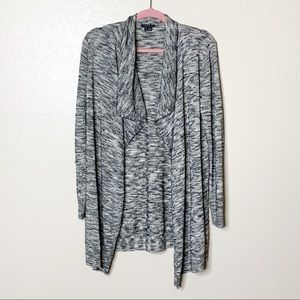 Theory Marble Knit Waterfall Front Cardigan